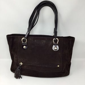 Kate Spade Chocolate Suede & Blk Patent Tote